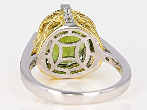 Pre-Owned Green Peridot Two-Tone 18k Gold & Rhodium Over Silver Ring 4.62ctw