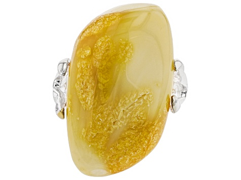 Pre-Owned Yellow butterscotch amber sterling silver ring