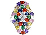 Pre-Owned Multicolor & White Cubic Zirconia Rhodium Over Sterling Silver Cluster Ring 6.90ctw