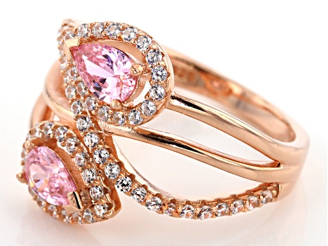 Pre-Owned Pink & White Cubic Zirconia 18K Rose Gold Over Sterling Silver Crossover Ring 1.95ctw