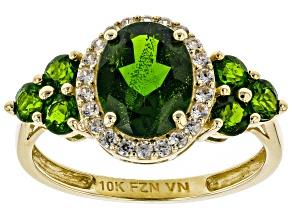 Pre-Owned Green Russian Chrome Diopside 10k Yellow Gold Ring 2.84ctw