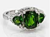 Pre-Owned Green chrome diopside rhodium over silver ring 3.19ctw
