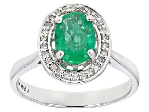 Pre-Owned Green Emerald Rhodium Over 10k White Gold Ring 1.05ctw