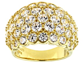 Pre-Owned White Cubic Zirconia 18K Yellow Gold Over Sterling Silver Ring 8.09ctw
