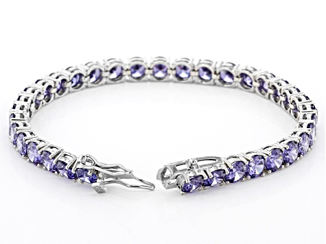 Pre-Owned Blue Cubic Zirconia Rhodium Over Sterling Silver Tennis Bracelet 28.44ctw