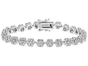 Pre-Owned White Zircon Rhodium Over Sterling Silver Bracelet 8.00ctw