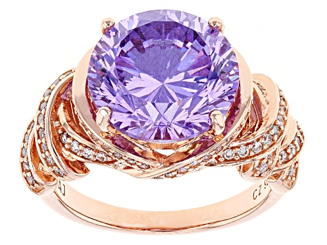 Pre-Owned Purple And White Cubic Zirconia 18k Rose Gold Over Sterling Silver Ring 11.10ctw
