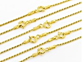Pre-Owned 18K Yellow Gold Over Sterling Silver Diamond Cut Rope Chain Necklace Set Of 6