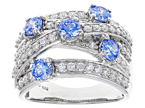 Pre-Owned Swarovski ® Blue Zirconia & White Cubic Zirconia Rhodium Over Silver Ring 4.13ctw