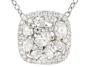 Pre-Owned White Cubic Zirconia Rhodium Over Sterling Silver Cluster Pendant With Chain 2.11ctw