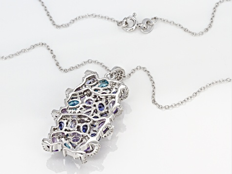 Pre-Owned Multicolor Cubic Zirconia Rhodium Over Sterling Silver Pendant With Chain 8.52CTW
