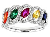 Pre-Owned Lab Created Spinel and Ruby, Green Glass, Multicolor Cubic Zirconia Rhodium Over Sterling