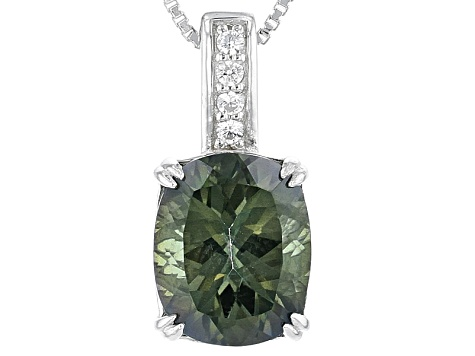 Pre-Owned Green Labradorite Sterling Silver Pendant With Chain 3.32ctw