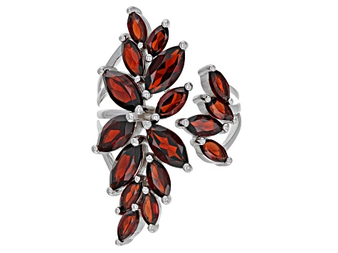 Pre-Owned Red garnet rhodium over silver ring 5.61ctw