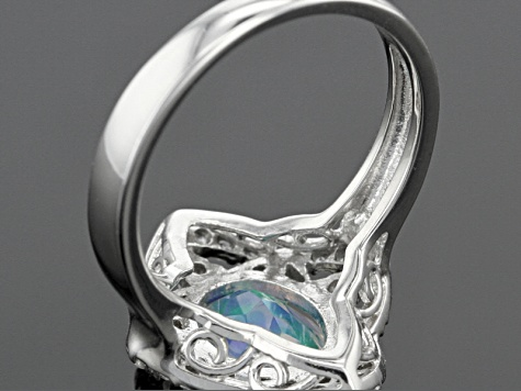Pre-Owned Multicolor Lab Created Opal And White Zircon Sterling Silver Ring 1.72ctw