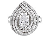 Pre-Owned White Cubic Zirconia Rhodium Over Sterling Silver Ring 2.91ctw