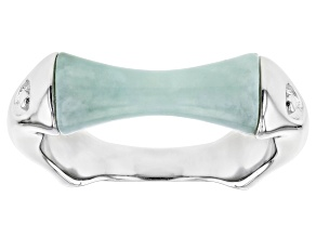 Pre-Owned Green Jadeite Rhodium Over Silver Ring
