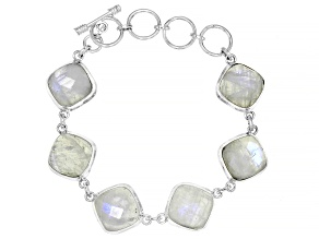 Pre-Owned White Moonstone Sterling Silver Bracelet