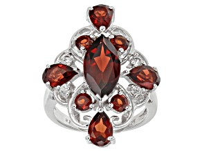 Pre-Owned Red Garnet Sterling Silver Ring 4.01ctw