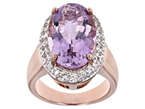 Pre-Owned Lavender amethyst 18k rose gold over silver ring 9.20ctw