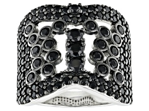 Pre-Owned Black spinel rhodium over silver ring 2.34ctw
