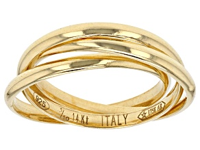 Pre-Owned Splendido Oro™ Divino 14k Yellow Gold Rolling Band Ring With A Sterling Silver Core.
