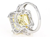 Pre-Owned Yellow & White Cubic Zirconia Rhodium Over Sterling Silver Center Design Ring 19.82ctw
