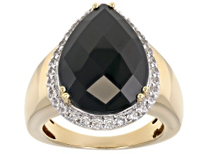Pre-Owned Black Spinel 18k Gold Over Silver Ring 10.76ctw