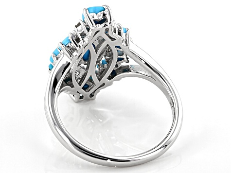 Pre-Owned Blue Sleeping Beauty turquoise rhodium over silver ring .05ctw