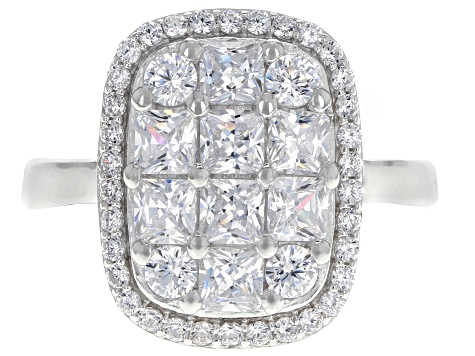 Pre-Owned White Cubic Zirconia Rhodium Over Sterling Silver Cluster Ring 3.03ctw