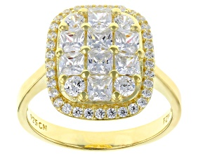 Pre-Owned White Cubic Zirconia 18K Yellow Gold Over Sterling Silver Cluster Ring 3.03ctw