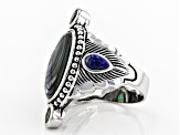 Pre-Owned Multi-color Abalone Shell Rhodium Over Silve Feather Ring .58ctw