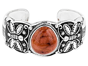 Pre-Owned Red Sponge Coral Silver Bracelet