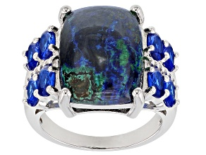 Pre-Owned Blue azurmalachite rhodium over silver ring 1.48ctw