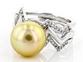 Pre-Owned Golden Cultured South Sea Pearl And White Topaz Sterling Silver Ring 10-11mm