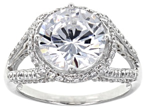 Pre-Owned White Cubic Zirconia Rhodium Over Sterling Silver Center Design Ring 7.62ctw