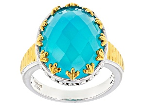 Pre-Owned Blue Paraiba Color Chalcedony Silver And 14k Gold Over Silver Ring 9.50ct