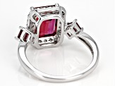 Pre-Owned Red lab created bixbite sterling silver ring 2.94