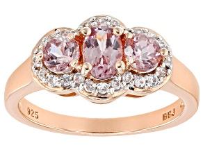 Pre-Owned Color Shift Garnet 18k Rose Gold Over Sterling Silver Ring 1.31ctw