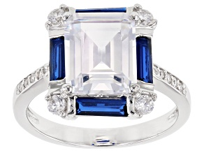 Pre-Owned Lab Created Blue Spinel And White Cubic Zirconia Rhodium Over Sterling Silver Ring 7.44CTW