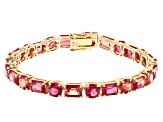 Pre-Owned Orange Lab Created Padparadscha Sapphire 18k Yellow Gold Over Sterling Silver Bracelet 24.
