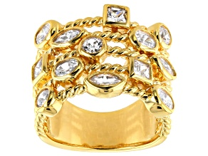 Pre-Owned White Cubic Zirconia 18k Yellow Gold Over Silver Ring 3.63ctw