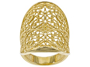 Pre-Owned 18K Gold Over Sterling Silver Filigree Saddle Ring