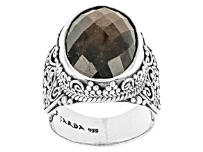 Pre-Owned Brown Gold Sheen Sapphire Silver Ring 10.00ctw