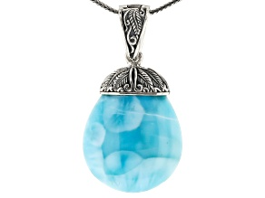 Pre-Owned Blue larimar rhodium over sterling silver enhancer with chain