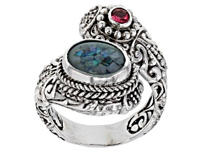 Pre-Owned Multicolor Crushed Opal Doublet Sterling Silver Ring 0.10ctw