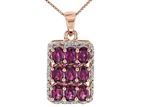 Pre-Owned Raspberry Color Rhodolite 18k Rose Gold Over Sterling Silver Pendant with Chain 4.71ctw