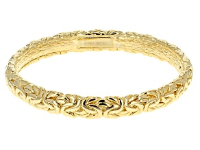 Pre-Owned 18k Yellow Gold Over Bronze Artformed Byzantine Link Bangle Bracelet 8 inch