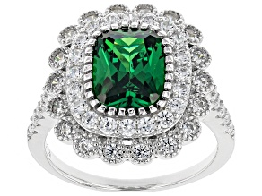 Pre-Owned Green & White Cubic Zirconia Rhodium Over Sterling Silver Center Design Ring 4.84ctw