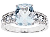 Pre-Owned Blue aquamarine rhodium over silver ring 2.83ctw